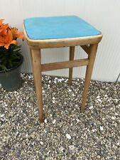 Vintage Retro Tall Kitchen Wooden Stool Mid Century Green Vinyl Seat