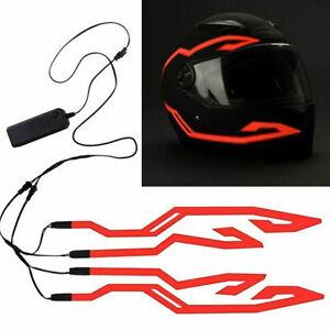Motorcycle Bike Helmet Led Light Strip Kit Bar 3 Modes Red Cold Light Decoration
