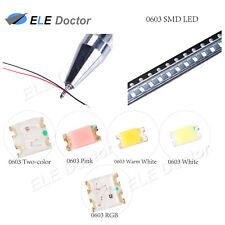 0402 0603 0805 1206 Smd Pre Soldered Micro Led White Red Blue Diodes 20cm Line