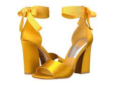 Anthropologie Dolce Vita Saffron Mustard Yellow Satin Sandals Block Heels Pumps