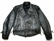 Langlitz Columbia Police Biker motocicleta rockabilly chaqueta de cuero negro 52 L