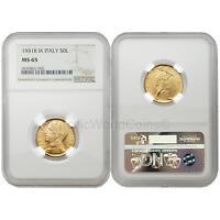 Italy 1931R Year IX 50 Lire Gold NGC MS65