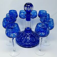 ULTRA RARE Ajka Marsala Romanov Collection Crystal Decanter Wine Glasses Cobalt