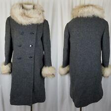 Vintage 50s G.Fox Gray Wool Mink Fur Muff Collar Cuffs MCM Peacoat Coat Womens S