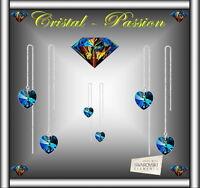 """Boucle d'oreille  femme Swarovski elements """" Coeur  """" plaqué Argent   B38"""