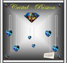 """Boucle d'oreille  Swarovski elements """" Coeur longue Tige """" plaqué Argent   B38"""