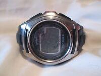 Casio Digital Watch Black Buckle Band Silver Toned Tough Solar Wave Ceptor