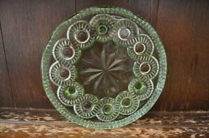 Gorgeous Vintage Large Green Glass Cake/Flan Plate - 23cm Diameter