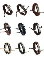 Men Women Adjustable Leather Bracelet Bangle Handmade Wristband Punk Cuff