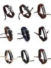 Men Women Adjustable Leather Bracelet Bangle Handmade Wristband Punk Cuff