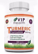VIP Health Turmeric Root Extract 500mg 365 Capsules Curcumin Curcuma Year Supply