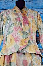 Unbranded Skirt Suit Floral Summer Size 12 USA Career Flowy Bright USA Roses