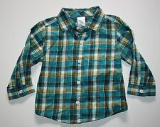 New Gymboree Forest Friends Line Teal Plaid Check Shirt Size 12-18 months NWT