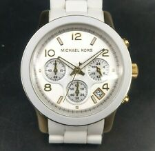 New Old Stock- MICHAEL KORS RUNWAY MK5145 - White Silicone Gold Tone Women Watch