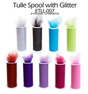 Glitter Tulle Spool Rolls Fabric Net, 5-1/2-inch, 10-yard