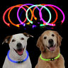 UK USB Rechargeable Pet Dog Collar LED Flashing Light Up Safety Belt Waterproof
