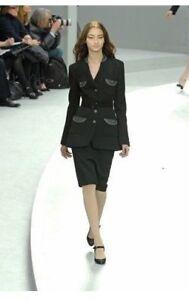 $6320 NEW Chanel SUIT Black JACKET + SKIRT Blazer Coat WOOL SILK CC Grey 36