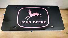 John Deere laser cut inlayed Black tag Pink letters