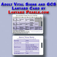 Normal Adult Vital Signs / Observations and GCS Lanyard Reference Card