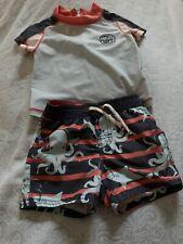 Toddler Boys Baby Gap Swim Suit Trunks & SS Rash Guard Set 12-18M Octopus