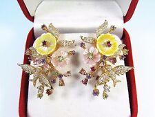 TOURMALINE TSAVORITE RUBY MOP FLOWERS & BIRD EARRINGS - 14k ROSE GOLD/925 SILVER
