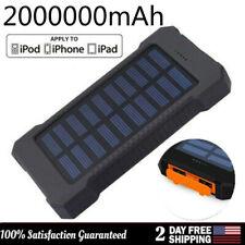 Waterproof 2000000mAh Portable Solar Power Bank Backup 2USB Battery Pack Charger