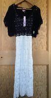 PHASE EIGHT Navy/Ivory Colour Block Crochet Dress & Bolero Jacket Size 12 New