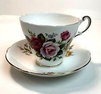 Vintage Tea Cup & Saucer Roses Gold Trim Regency Porcelain England