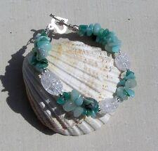 """Amazonite & Crackled Clear Quartz Crystal Gemstone Bracelet """"Amazon Dew"""""""