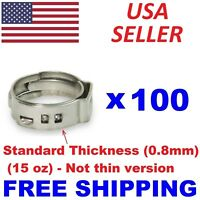 """(100) 1/2"""" PEX Stainless Steel Clamps Cinch Pinch Rings ASTM NSF Certified SSC-2"""