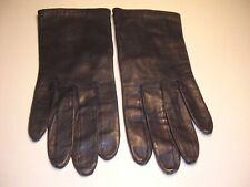 Vintage Pair Van Raalte Silk Lined Navy Blue Leather Gloves Size 7 1/2 7.5