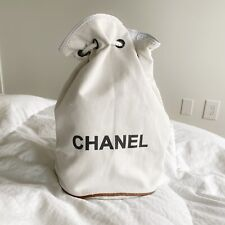 NEW!!! Chanel Ivory Logo Drawstring Canvas Backpack Large Bag VIP Gift White