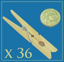 X 36 Extra Strong Wooden Clothes Pegs Washing Line Spring Coiled Hanging Dry SYD