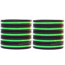 10 Thin GreenLine Wristbands - Police / Law Enforcement Awareness Bracelet Bands
