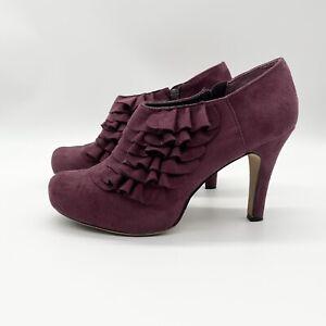 """Madden Girl Raleigh Burgundy Tiered Ruffle Ankle Boot Shoe 4"""" Heel Zip Bootie 10"""