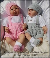 "BABYDOLL HANDKNIT DESIGNS KNITTING PATTERN E29 SHORTS SET 16-22"" DOLL/0-3M BABY"