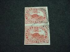 NobleSpirit (Th1) Canada 4c Imperf Pair Used Ribbed Paper =$1,150 w/ Certificate