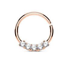 1pc Five CZ Gem Bendable Hoop Ring for Nose Septum, Daith, Ear Cartilage