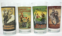 Very Nice set of 4 Vintage Collectable Harley-Davidson Motorcycle Drinking Glass