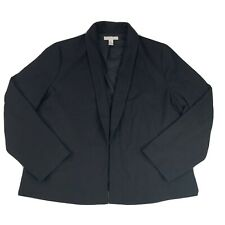 Chico's Women's Size 3 (XL) Blazer Jacket Black Open Front Lined Career