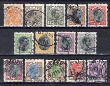 DK Dänemark 1918/20 Mi.-Nr. 97 - 109 (104a+b) FM: König Christian X gestempelt o