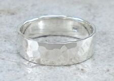 925 STERLING SILVER 6MM HAMMERED BAND RING size 9  style# r2402