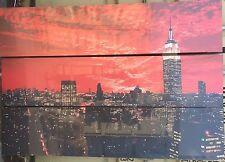New York Scene Trypitch  169cm x 39cm on Wooden Stretcher Frame set of 3