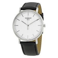 Tissot Everytime Silver Dial Black Leather Mens Watch T1096101603100