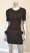 Tara Jarmon France Black Wool Ribbed Knit 3/4 Sleeve Bow Dress Size 36 XS 2