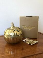 "NIB NEW JULIA KNIGHT 5"" Luxe Lodge Pumpkin Covered Bowl Lid Leaf Gold Home Decor"
