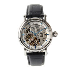 Double Skeleton Genuine Leather Seagull M182SK Blue Hand Automatic Men's Watch