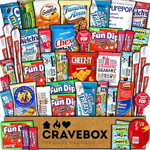 CraveBox Care Package 45 Count Snacks Food Cookies Chocolate Bar Chips Candy Box