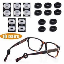 10 Pairs Silicone Eyeglasses Temple Tips Sleeve Retainer Anti-slip Round Comfort