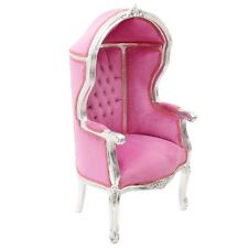 CHILDREN BAROQUE STYLE CUPOLA ARMCHAIR SILVER/PINK # F0MB11